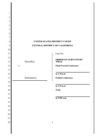 Civil Trial Order - Central District of California USDC