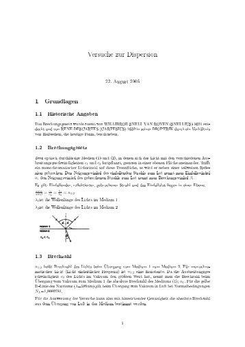 Versuche zur Dispersion 1 Grundlagen - Gymnasium Wentorf