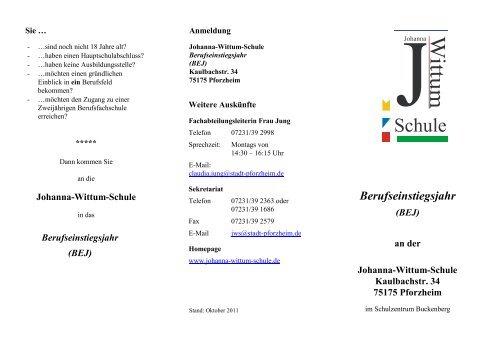 Berufseinstiegsjahr Johanna Wittum Schule