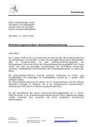 Orientierungsschreiben: Schulunfallversicherung - Schule Zeiningen