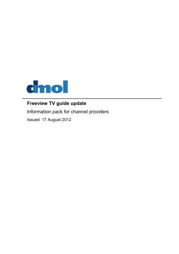 Freeview TV guide update Information pack for channel ... - Digital UK