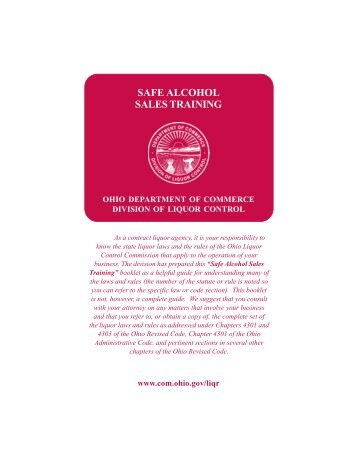the Washington State Liquor - ServSafe Alcohol Server Training
