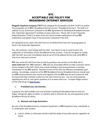 RTC Internet Acceptable Usage Policy - Ringgold Telephone ...