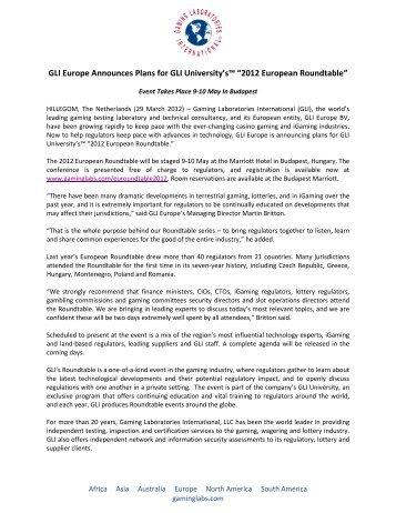 GLI Europe Announces Plans for GLI University's - Gaming ...