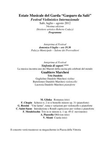 Il programma completo della manifestazione - Vini e Sapori