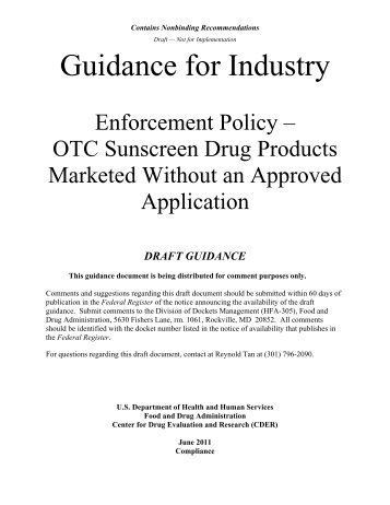 OTC Sunscreen Drug Products Marketed Without an ... - MLMLaw
