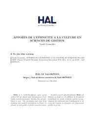 APPORTS DE L'ETHNICITE A LA CULTURE EN SCIENCES DE ...