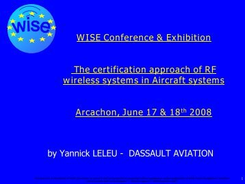 The certification approach of RF wireless systems in ... - WISE-Project