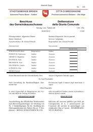 Delibera della Giunta Comunale - Gemeinde Brixen
