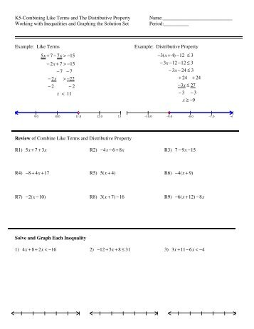 Free worksheets on distributive property and combine like terms