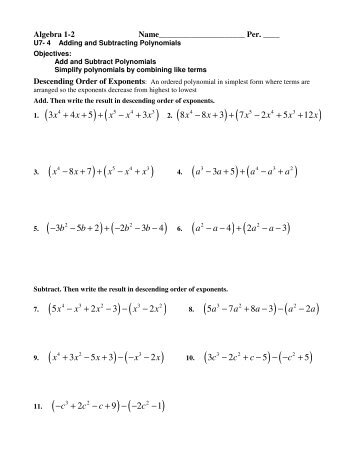 Dding And Subtracting Polynomials