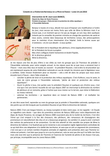 Intervention de M. Jean-Louis BIANCO, Bonjour à toutes et à tous ...
