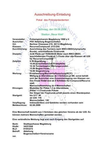 Ausschreibung / Anmeldung hier (als pdf-Datei) - PSV-Magdeburg ...