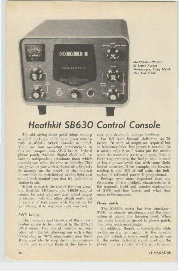 Heathkit SB630 Control Console - Nostalgic Kits Central