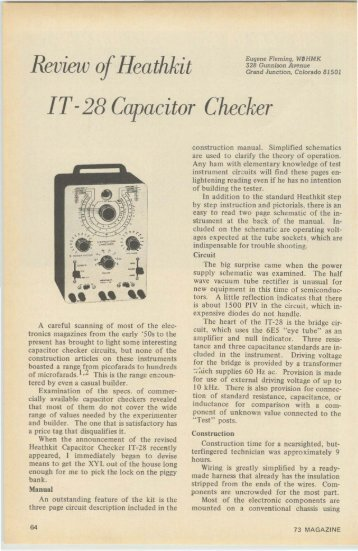 Review 0 Heathkit IT-28 Capacitor Checker - Nostalgic Kits Central