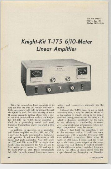 Knight-Kit T-175 6/10-Meter Linear Amplifier - Nostalgic Kits Central
