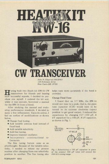 Modified Heathkit HW-16 CW Transceiver - Nostalgic Kits Central