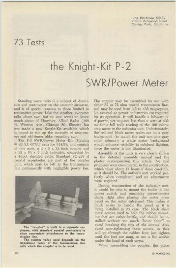 the Knight-Kit P-2 SWR/Power Meter - Nostalgic Kits Central