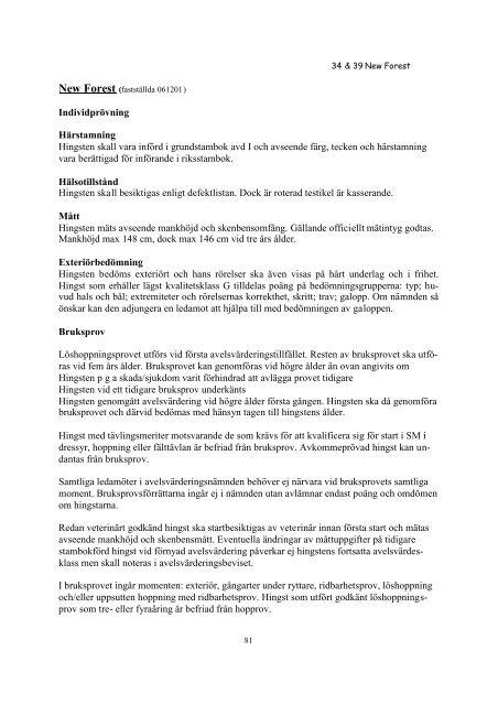 HINGSTREGLEMENTE 2008 - Svenska Russavelsföreningen