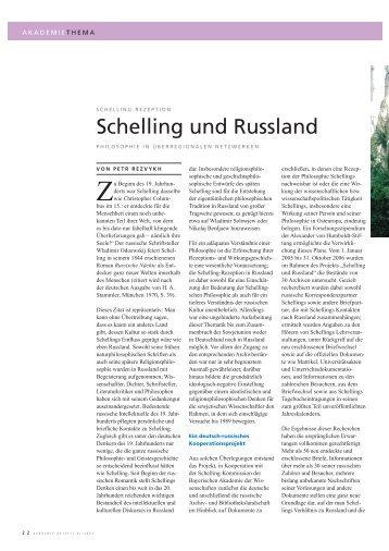 Schelling und Russland - Die Schelling-Kommission