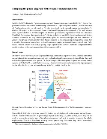 Sampling the phase diagram of the cuprate superconductors - DFG ...