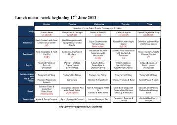 Lunch menu - week beginning 17 June 2013 - Trinity School