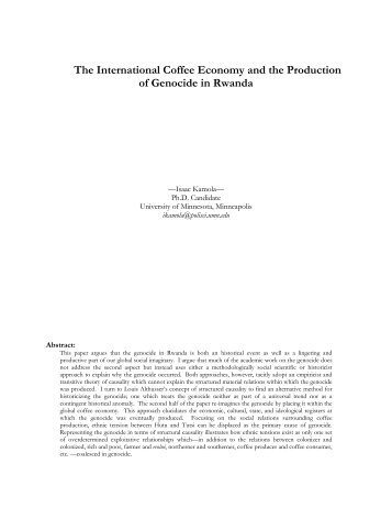 The International Coffee Economy and the Production of Genocide ...