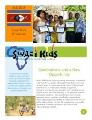 Fall 2013 Swazi Kids Newsletter