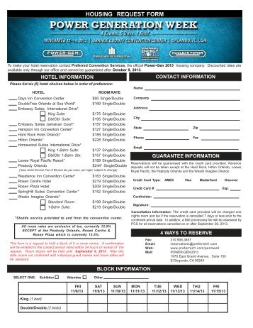 Hotel Block Reservation Form - POWER-GEN International