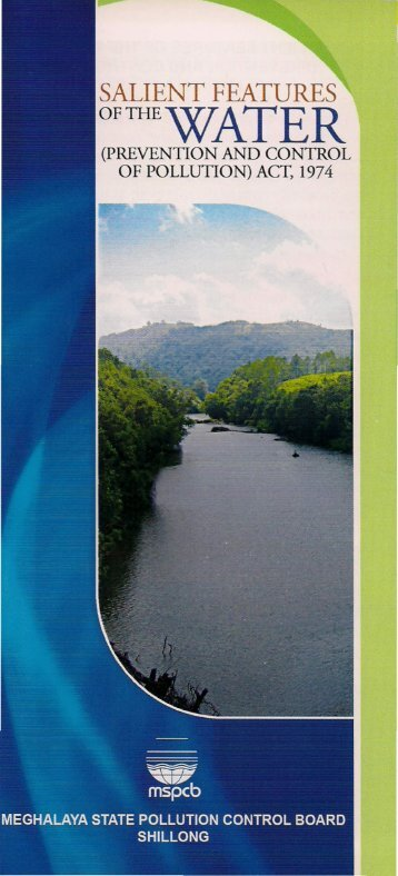 Pamphlets on Salient Features of the Water - Meghalaya State ...