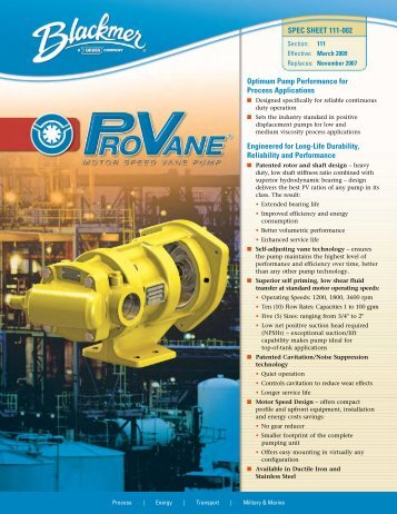 Optimum Pump Performance for Process Applications Engineered ...