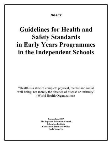 Guidelines for Health and Safety Standards in Early Years ...
