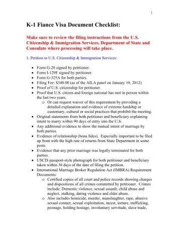 K-1 Fiance Visa Document Checklist: - AILA webCLE
