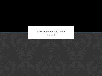 Molecular Biology lecture 7 - lectureug4