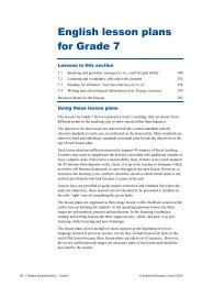 English lesson plans for Grade 7