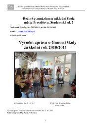 Výroční zpráva 2010/2011 - Reálné gymnázium a základní škola ...