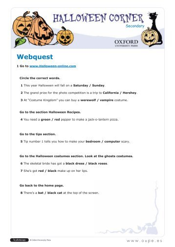 halloween webquest oxford university press - Halloween Web Quest