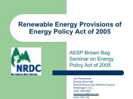 AESP Brown Bag Seminar on Energy Policy Act of 2005 Presentation