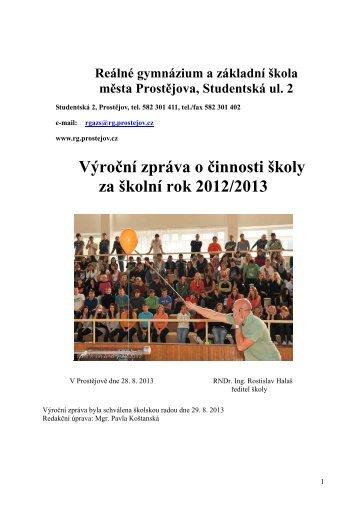 Výroční zpráva 2012/2013 - Reálné gymnázium a základní škola ...