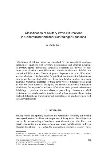 Classification of Solitary Wave Bifurcations in Generalized Nonlinear ...