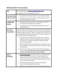 BOSS Tip Sheet for Team Leaders