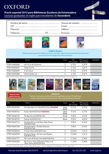 Precio especial 2012 para Bibliotecas Escolares de Extremadura ...
