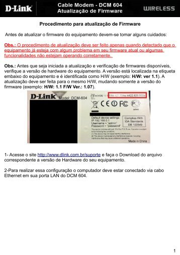 Procedimento para atualização de Firmware - D-Link