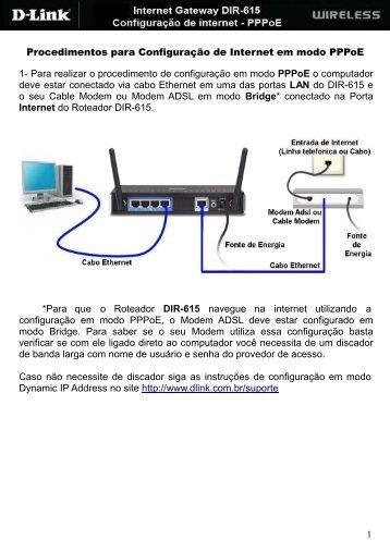 Configuração DIR-615 PPPoE - D-Link