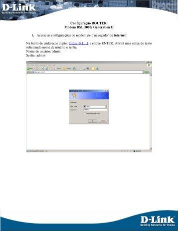Configuração ROUTER: - D-Link