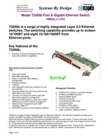 Model T3200b Fast & Giga Ethernet Switch