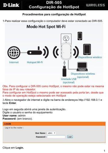Procedimentos para configuração de HotSpot - D-Link