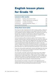 English lesson plans for Grade 10