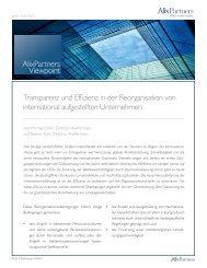 Transparenz und Effizienz in der Reorganisation von international ...