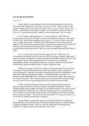 Gas Tax Bacon's Rebellion Senate Majority Leader ... - James V. Koch